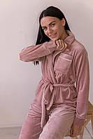 Пижама женская комплект шаль с поясом V.Velika розовая пудра (рубашка+штаны) велюровая, фото 1
