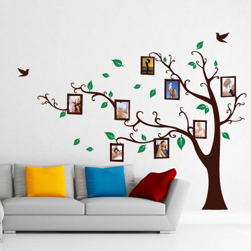 Интерьерня виниловая наклейка Дерево с рамками (самоклеющаяся пленка фоторамка для фотографий декор)