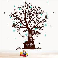 Виниловая интерьерная наклейка на обои Дерево Лесной дом