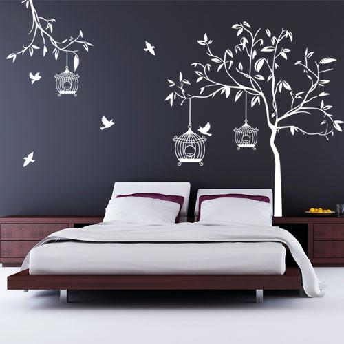 Интерьерная виниловая самоклеющаяся наклейка на обои Летний сад (наклейка дерево, декор стен пленкой
