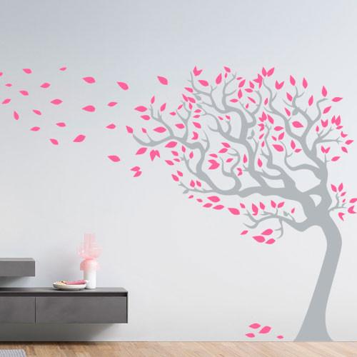 Самоклеящаяся виниловая наклейка на обои Могучее дерево (интерьерные наклейки деревья большие декор стен) матовая 840х1000 мм
