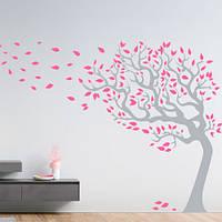 Самоклеящаяся виниловая наклейка на обои Могучее дерево (интерьерные наклейки деревья большие декор стен) матовая 840х1000 мм, фото 1