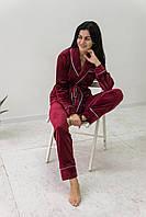 Пижама женская комплект шаль с поясом V.Velika бордо (рубашка+штаны) велюровая, фото 1