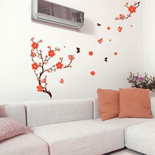 Наклейка виниловая на обои Цветение на ветру (интерьерная, самоклеящаяся, наклейки деревья ветки, декор стены)