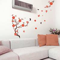 Наклейка виниловая на обои Цветение на ветру (интерьерная, самоклеящаяся, наклейки деревья ветки, декор стены), фото 1