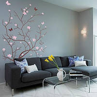 Интерьерная наклейка на обои Весеннее деревце (виниловая самоклеющаяся пленка, наклейки деревья на стену)