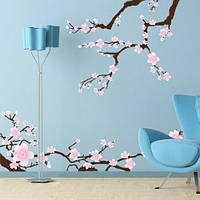 Виниловая интерьерная наклейка на обои Ветки сакуры (декоративное дерево стена самоклеющаяся пленка)