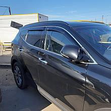 Дефлектори вікон (вітровики) з хром накладкою Hyundai Santa Fe 2012-> 4шт (HIC) Хром
