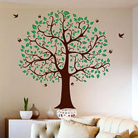 Интерьерная наклейка на обои Двухцветное дерево семьи (виниловая пленка самоклеящаяся)