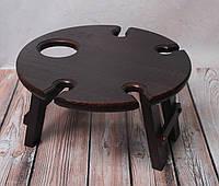 Деревянный винный столик, столик ручной работы, винный столик тёмный, фото 1