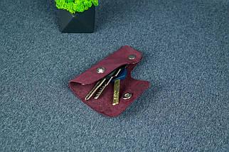 Ключница на кнопке №16, Винтажная кожа, цвет Бордо, оттиск №4, фото 2