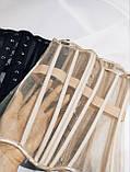 Корсет на 16ти кісточках з прозорими вставками люкс, корсет на одяг, гарний корсет на зав'язках, фото 4