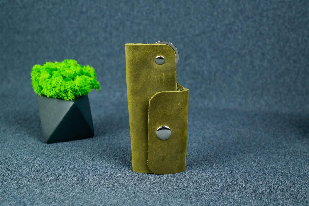 Ключница на кнопке №16, Винтажная кожа, цвет Оливковый