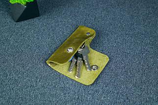 Ключница на кнопке №16, Винтажная кожа, цвет Оливковый, фото 2