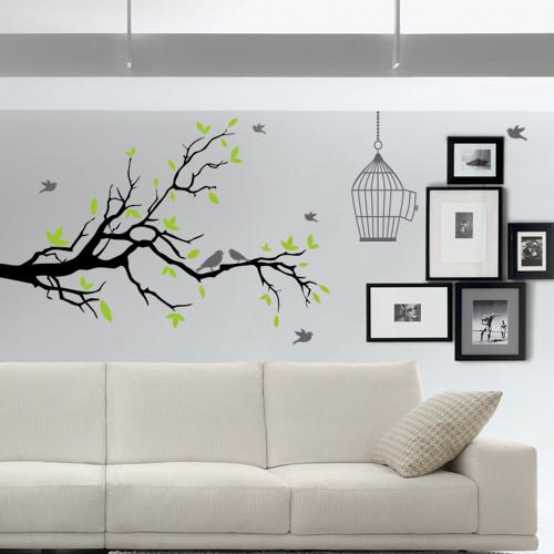 Интерьерная самоклеющаяся наклейка на обои Дерево с птицами и клеткой (виниловая пленка оракал, ветка, декор)