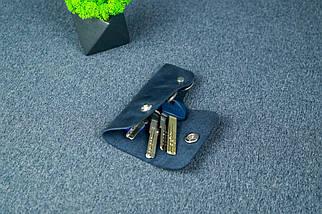 Ключница на кнопке №16, Винтажная кожа, цвет Синий, фото 2