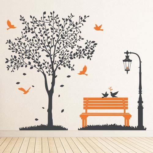 Наклейка на обои Романтика (виниловая, интерьерная, самоклейка, большая наклейка дерево, лавка, фонарь, птицы)