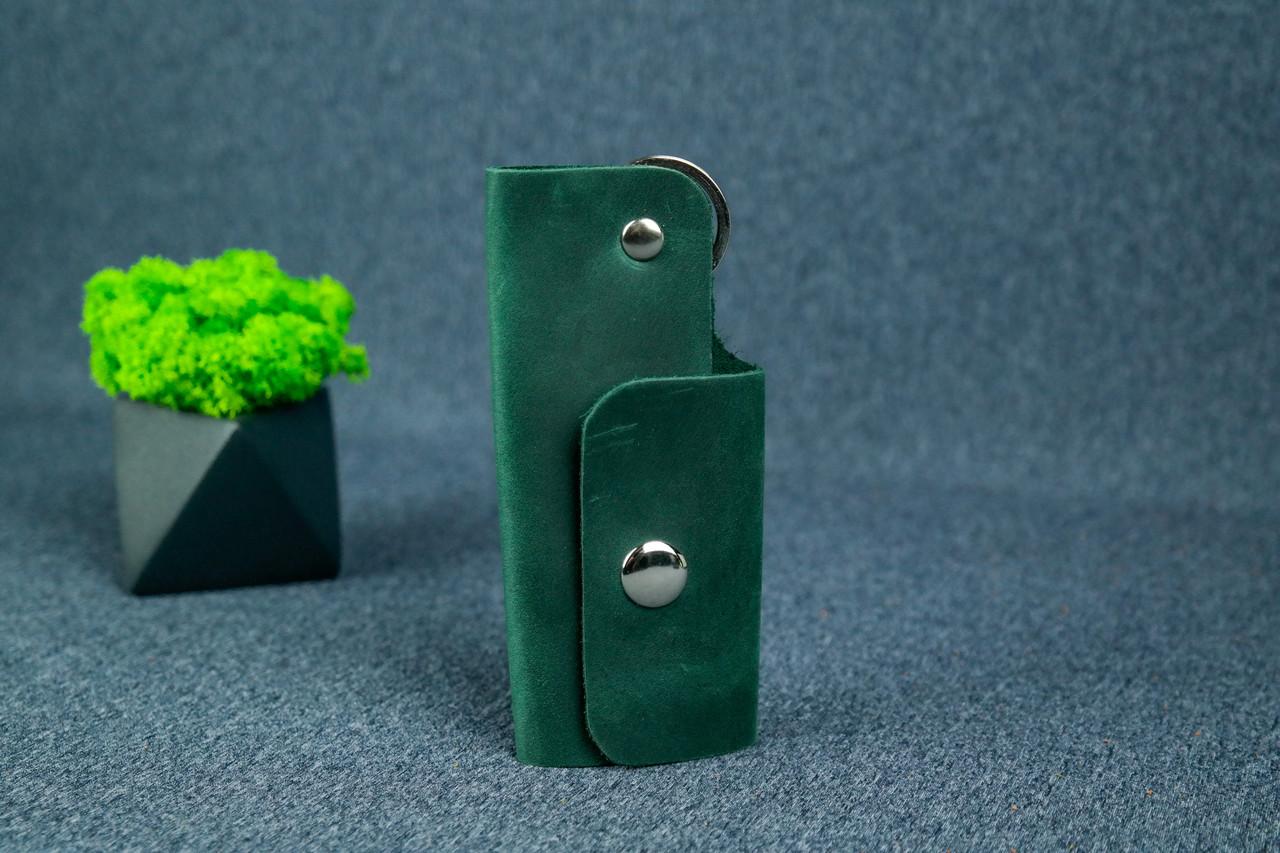 Ключница на кнопке №16, Винтажная кожа, цвет Зеленый