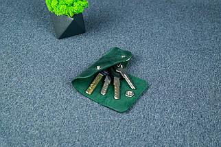Ключниця на кнопці №16, Вінтажна шкіра, колір Зелений, фото 2