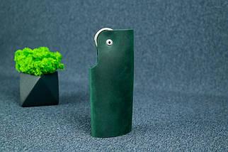 Ключница на кнопке №16, Винтажная кожа, цвет Зеленый, фото 3