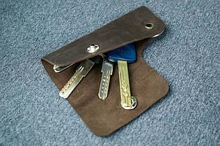Ключница на кнопке №16, Винтажная кожа, цвет Шоколад, фото 2