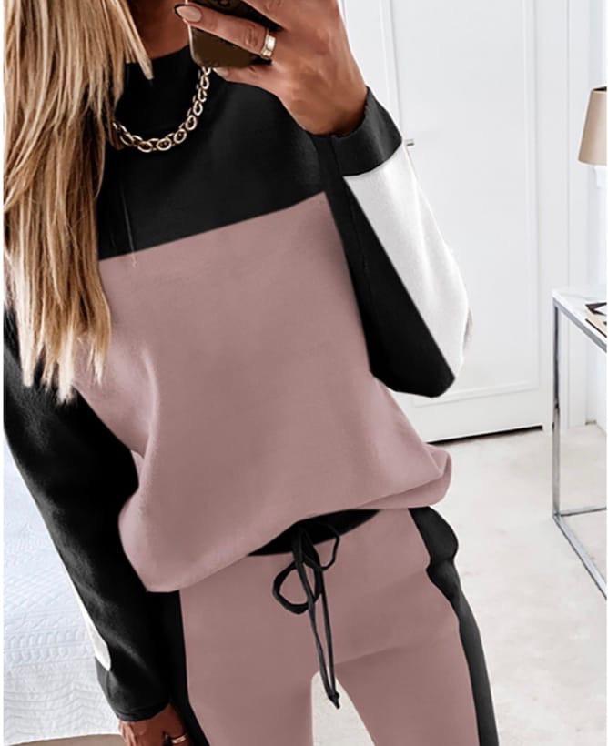 Модный женский спортивный костюм 42-52 р розовый+чёрный