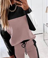 Модный женский спортивный костюм 42-52 р розовый+чёрный, фото 1