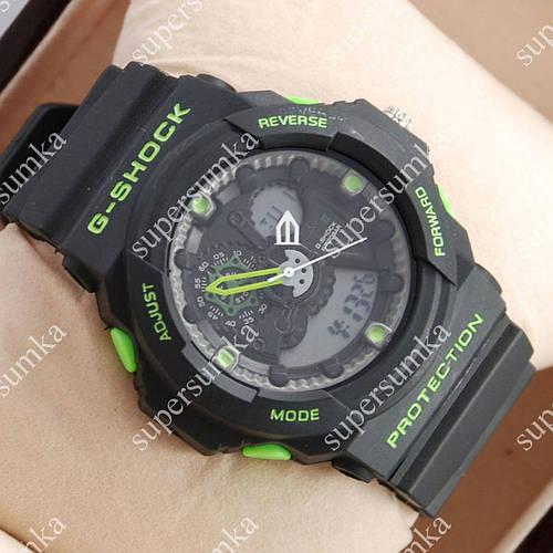 Элегантные наручные спортивные часы Casio GA-5255 Black/Green 6075