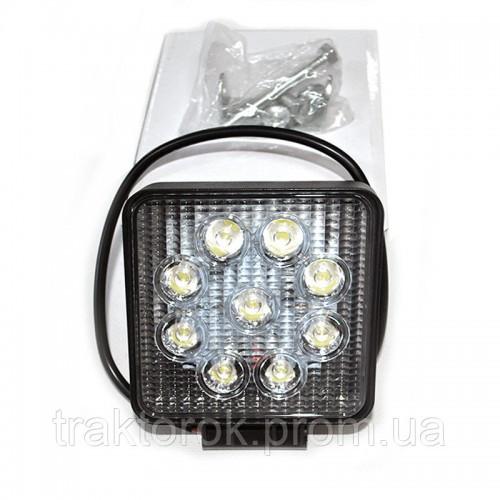Світлодіодна квадратна фара LED (робочий світло) 27 Вт/9 діодів 6000К Широкий промінь