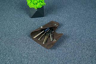 Ключниця на кнопці №16, Вінтажна шкіра, колір Шоколад, відбиток №4, фото 2