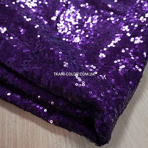 Тканина пайетка дрібна на сітці фіолетова