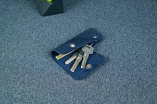 Ключница на кнопке №16, Винтажная кожа, цвет Синий, оттиск №4, фото 2