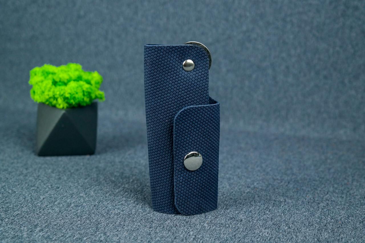 Ключница на кнопке №16, Винтажная кожа, цвет Синий, оттиск №4