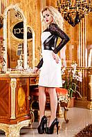 Женское коктейльное платье с гипюровым рукавом и кожаными вставками, фото 1