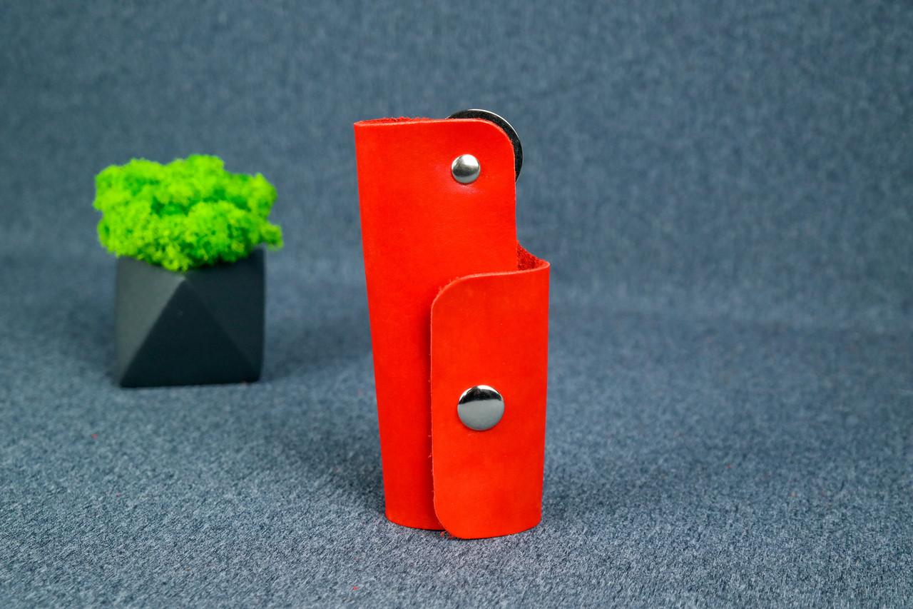 Ключниця на кнопці №16, Шкіра Італійський краст, колір Червоний