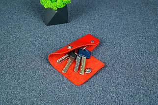 Ключниця на кнопці №16, Шкіра Італійський краст, колір Червоний, фото 2