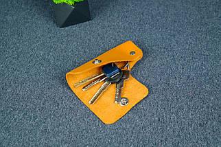 Ключница на кнопке №16, Кожа Итальянский краст, цвет Янтарь, фото 2