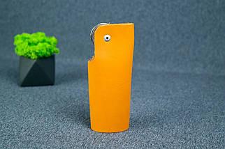 Ключница на кнопке №16, Кожа Итальянский краст, цвет Янтарь, фото 3