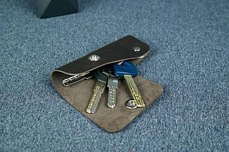Ключниця на кнопці №16, Шкіра Італійський краст, колір Кави, фото 2