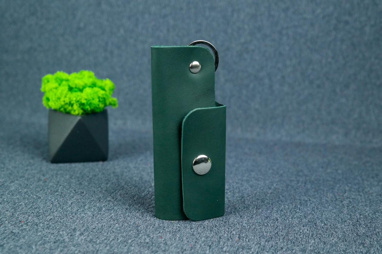 Ключниця на кнопці №16, Шкіра Італійський краст, колір Зелений