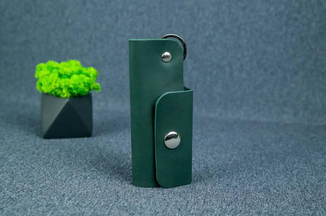 Ключниця на кнопці №16, Шкіра Італійський краст, колір Зелений, фото 2