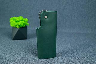 Ключниця на кнопці №16, Шкіра Італійський краст, колір Зелений, фото 3