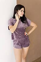Піжама жіноча плюш V. VELIKA ліловий (футболка+шорти) велюрова, фото 1