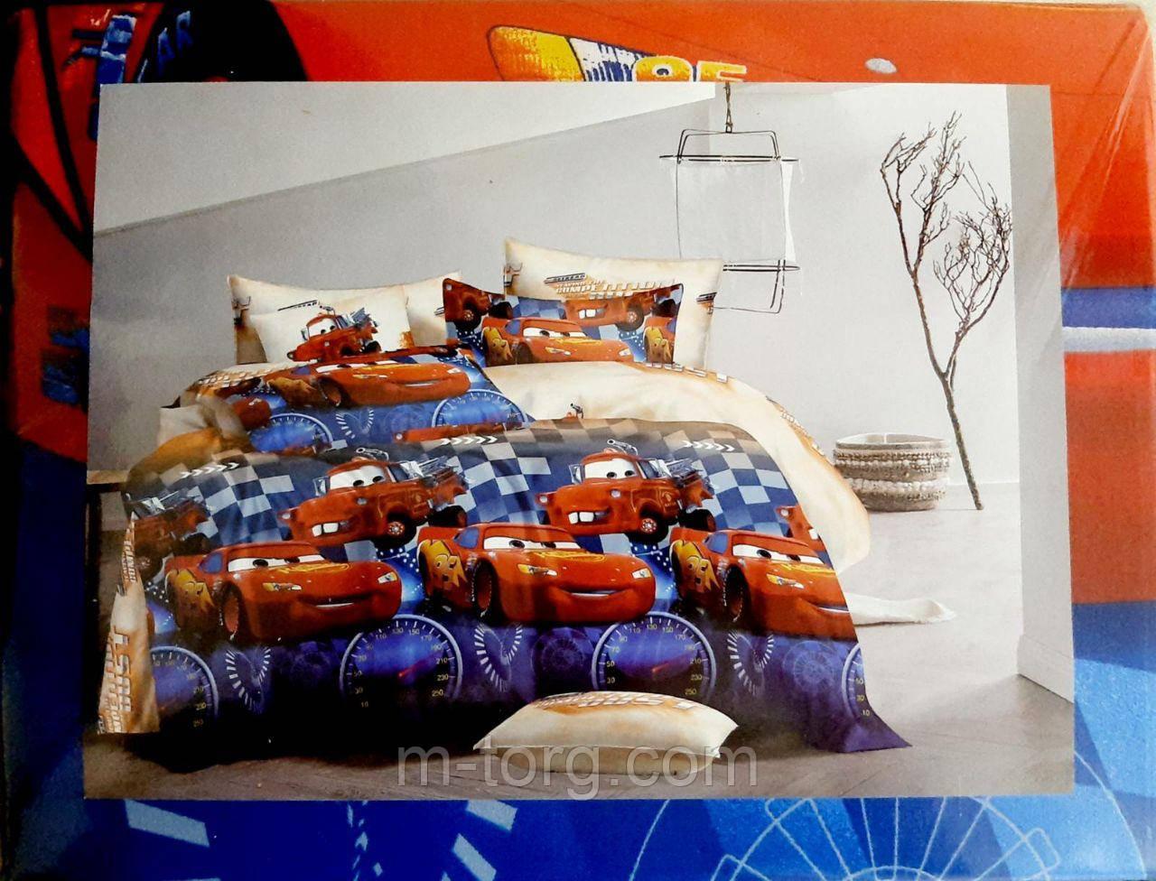 """""""тачки"""" полуторный комплект постельного белья 150/220 с детским рисунком,ткань сатин 100% хлопок"""