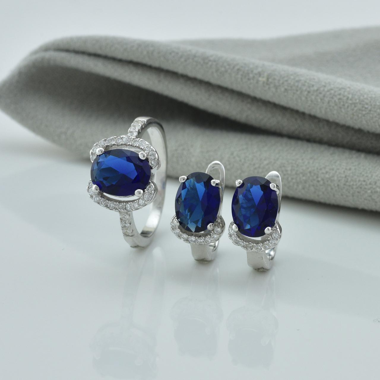 Серебряный набор кольцо размер 18.5 + серьги 15х8 мм вставка синие фианиты вес 6.4 г
