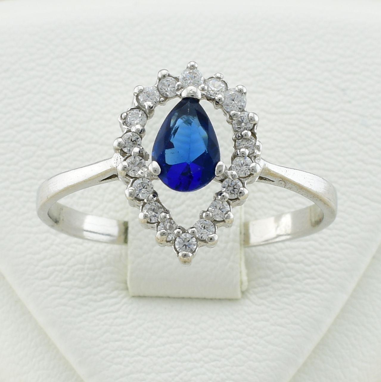 Серебряное кольцо Айленд размер 19.5 вставка синие фианиты вес 2.4 г