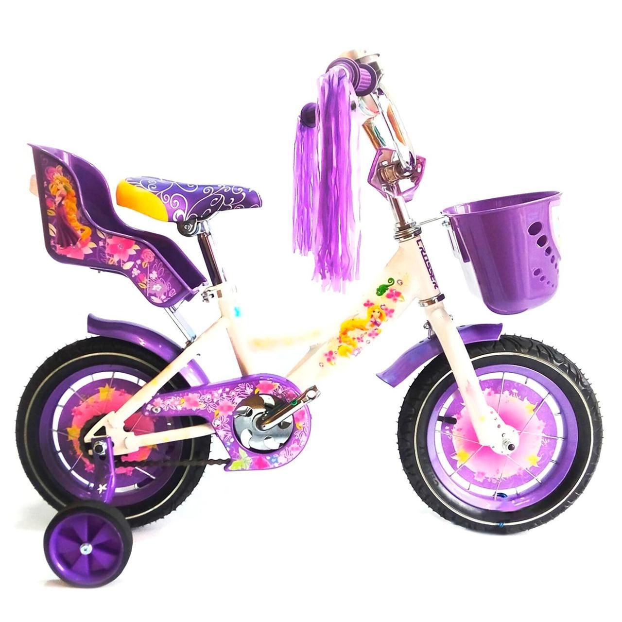 Детский велосипед Azimut Girls 14 дюймов фиолетовый
