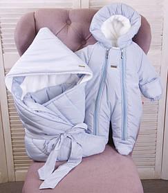 Зимний конверт одеяло с комбинезоном для новорожденных Finland+Вьюга голубой