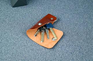 Ключниця на кнопці №16, Шкіра Пуллап, колір Коньяк, фото 2