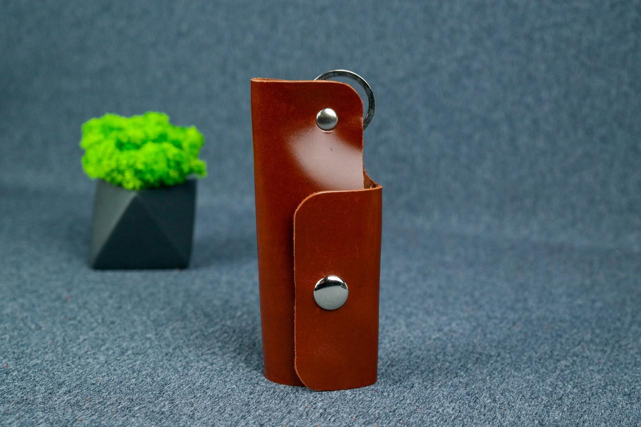 Ключниця на кнопці №16, Шкіра Пуллап, колір Коньяк